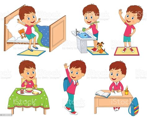 kids daily routine stock illustration  image