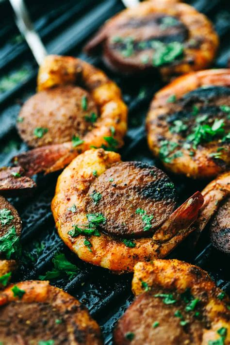 easy  amazing cajun shrimp  sausage skewers