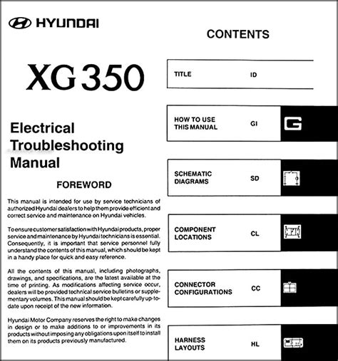 old car repair manuals 2005 hyundai xg350 instrument cluster 2005 hyundai xg 350 original electrical troubleshooting manual