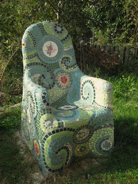 Gartendekoration  Mosaik Stuhl Gartenmöbel Ein