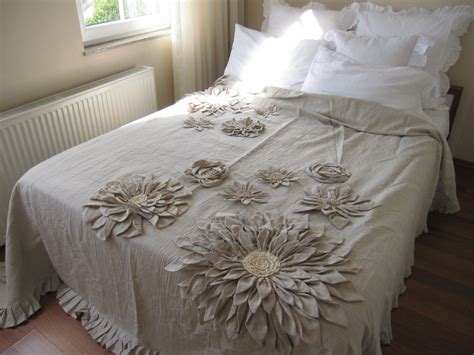 shabby chic neutrals bedding mandala inspired lotus dahlia bloom flower applique bohemian