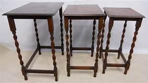 small beech oak nest of three barley twist coffee tables With small beech coffee table