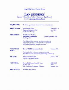 resume example for high school student sample resumes With sample of a resume for a highschool student