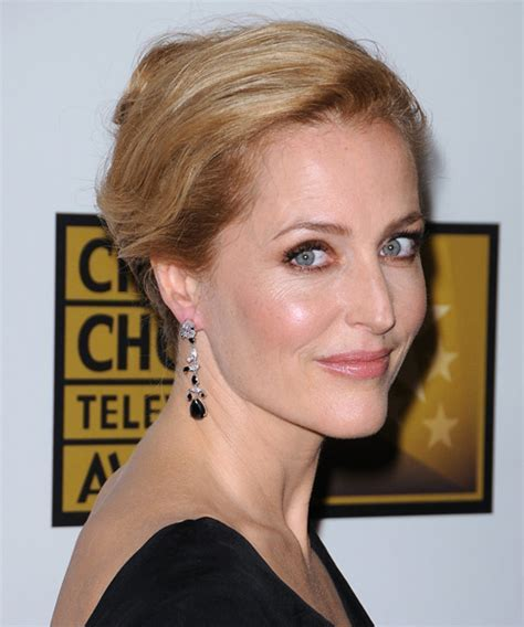 Gillian Anderson Straight Casual Updo Hairstyle   Medium
