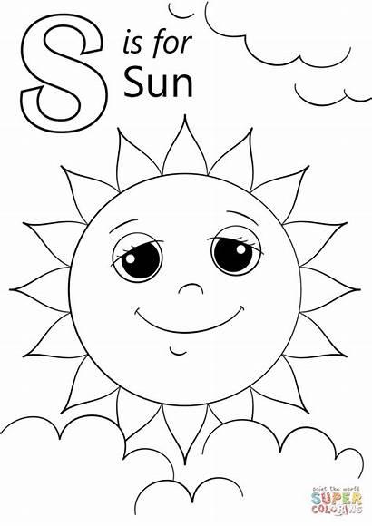 Coloring Letter Sun Pages Sunshine Printable Preschoolers