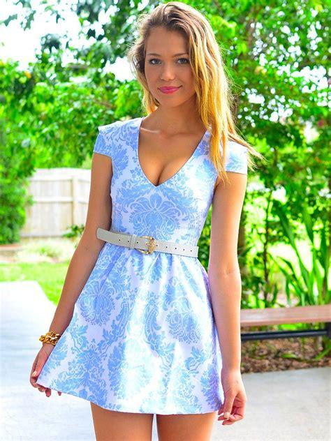 metallic pale blue print dress   neckline cap