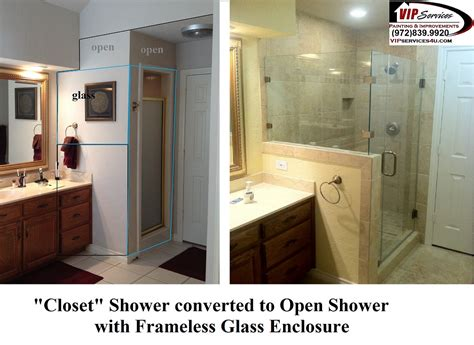 Closet Shower Converted To Open Shower With Framless Glass