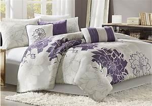 Lola Gray Purple 7 Pc King Comforter Set - King Linens (Gray)