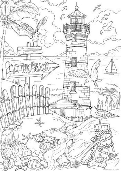 beach printable adult coloring page  favoreads coloring book pages  adults
