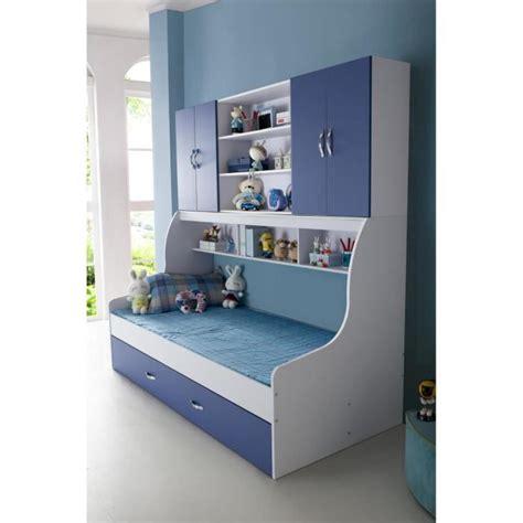 chambre avec rangement lit enfant bleu 90x200 avec tiroir et rangement mural