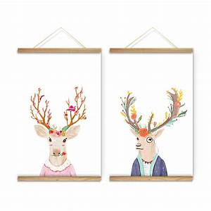 christmas reindeer cartoon decoration wall c art art With what kind of paint to use on kitchen cabinets for ready to hang canvas wall art