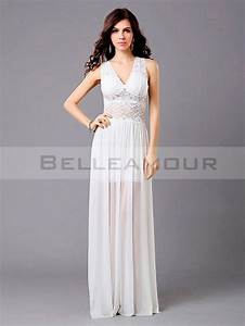 robe de soiree blanche longue sexy dentelle mousseline a With robe blanche soiree