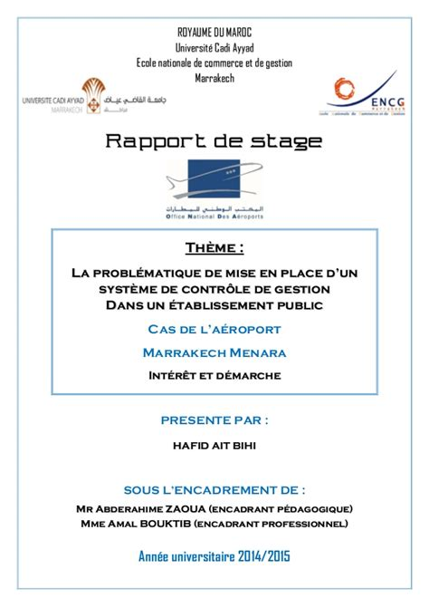 rapport de stage en cuisine rapport de stage office national des aéroport