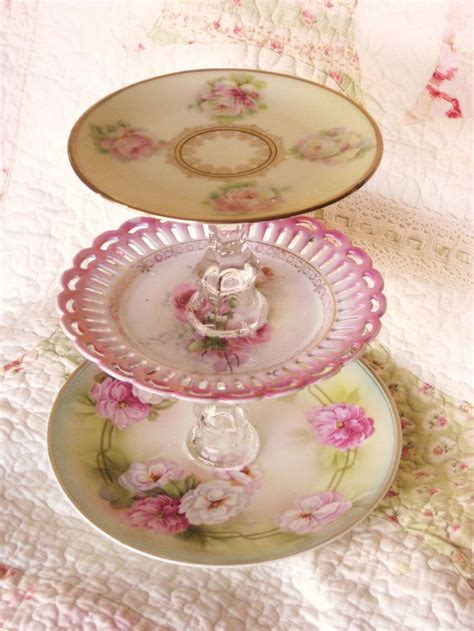 cottage chic store shabby chic style pink dessert tier plate 20 00 via