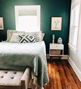 bedroom, , home, design, , first, house, , bed, , green, , wall, , paint, , color, , blues, , calm, , serene