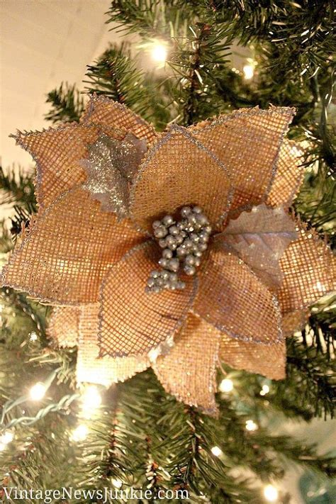 How To Make A Burlap Flower Christmas Ornament Video