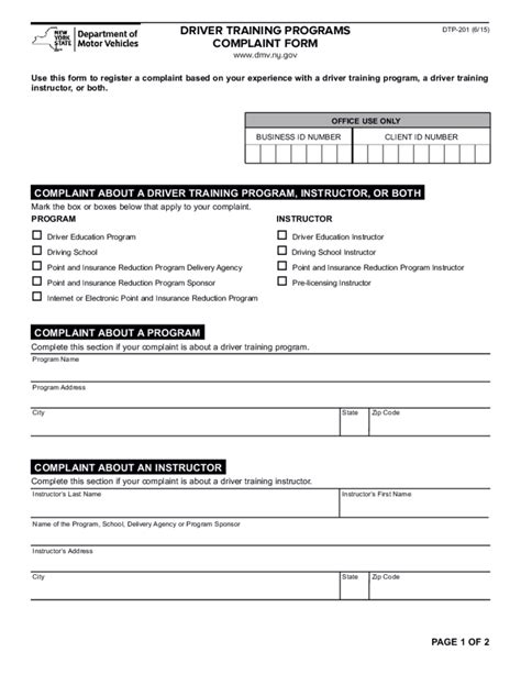 Ny State Form 201 by Form Dtp 201 Driver Training Programs Complaint Form