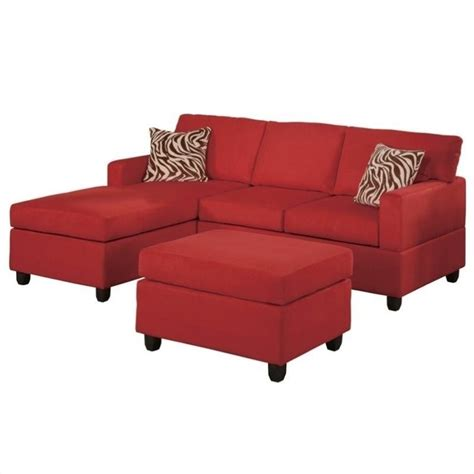 Poundex 3pc Sectional Sofa Set by Poundex Bobkona Manhattan Reversible Microfiber 3