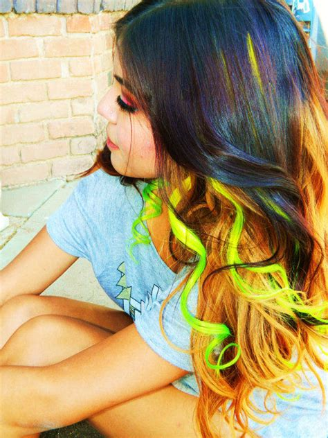 Neon Ombre Clip In Human Hair Extensions From