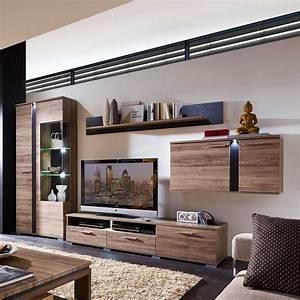Wohnzimmer Wohnwand Mit LED Beleuchtung Eiche San Remo