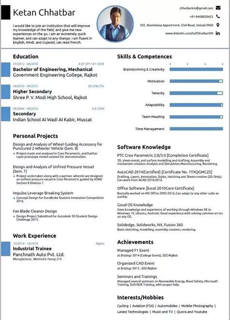 resume format   mechanical