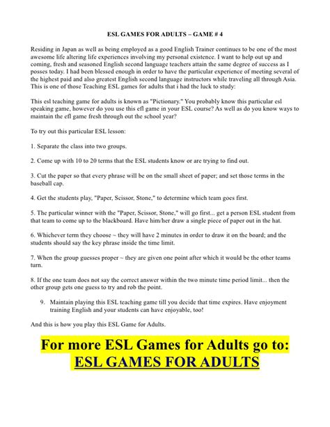 Esl Games For Adults