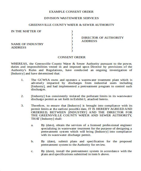 consent order templates  sample  format