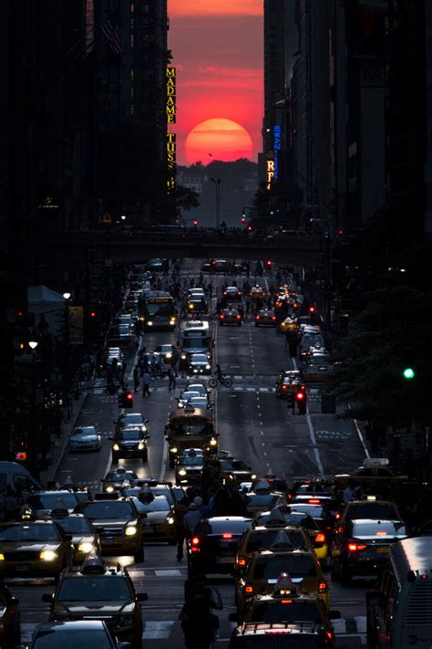 sunset   york city manhattanhenge