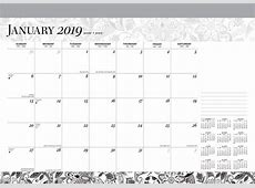 Ebony and Ivory 2019 17 x 12 Inch Monthly Desk Pad