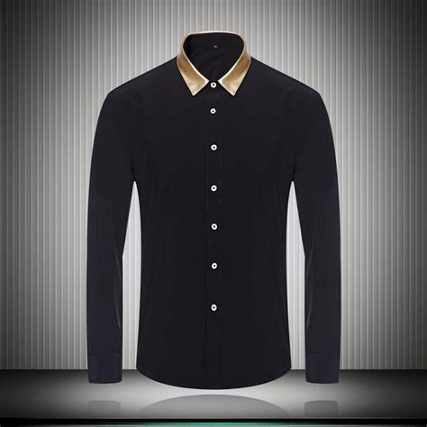 chagne color dress shirt great quality gold color collar black white mens dress