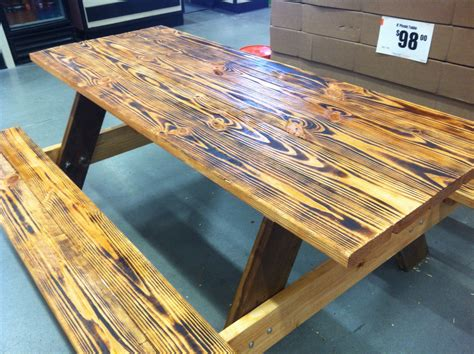 burned  stained picnic table  easy   table