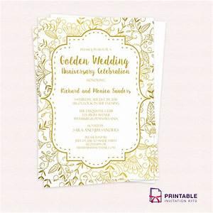 Golden wedding anniversary invitation template wedding for Free printable golden wedding invitations
