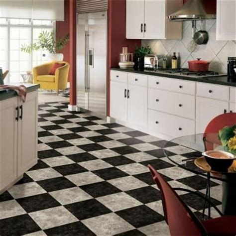 black and white kitchen flooring armstrong 12 ft wide caspian ii checkerboard gray vinyl 7854