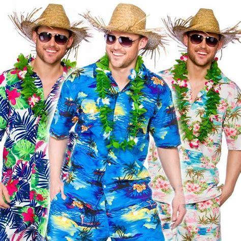 Mens Hawaiian Shirt Shorts Stag Retro Beach Luau Tropical Fancy Dress Costume | eBay
