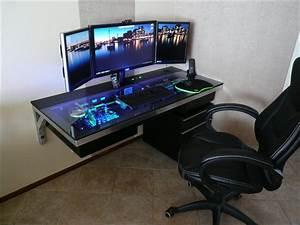 Pc tisch hardware im tisch eingebaut gaming m bel for Pc im tisch