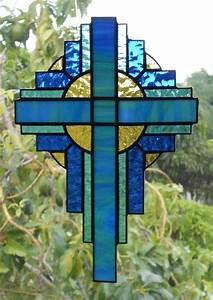 Stained Glass Cross Suncatcher Blue/Green Opal 109