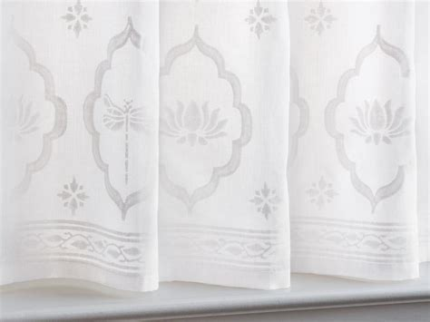 Dragonfly and Lotus ~ White on White Kitchen Tier Curtain