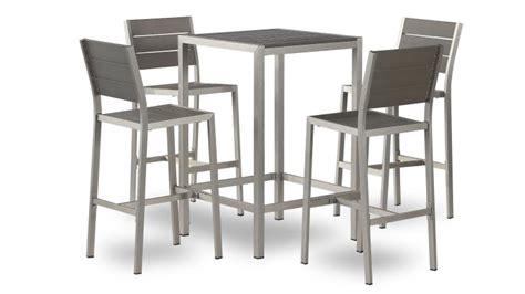 chaise haute exterieur table haute dazzio en alu brossé inoxydable avec 4 chaises