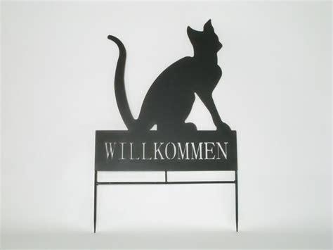 Gartendeko Willkommen by Willkommensschild Katze Beetstecker Metall Gartendeko