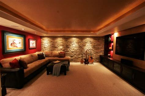 media room home theater stone wall feature
