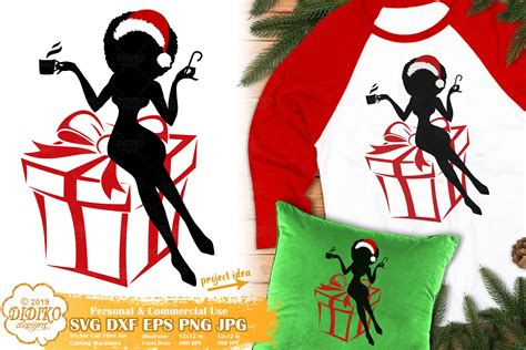 Svg eps dxf pdf png silhouette in a zip file. Christmas Black Woman SVG #4 | African American Svg ...