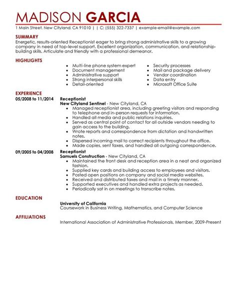 Front Desk Receptionist Resume Skills by Receptionist Resume Sle My Resume