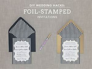 Diy foil stamped wedding invitation with bold stripes for Foil pressed wedding invitations diy