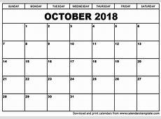 October 2018 Printable Calendar printable calendar template