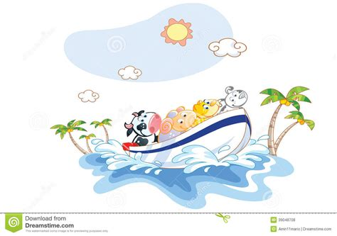 Boat Ride Cartoon by Animal Cartoon Was A Boat Ride On The Beach Stock