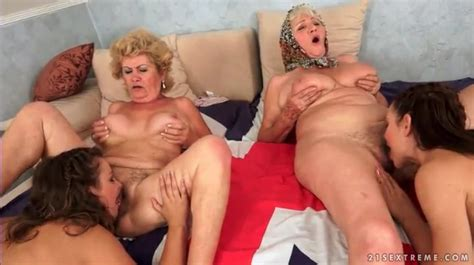 Grannies Eat Teen Pussy In Lesbian Foursome Group Sex Porn