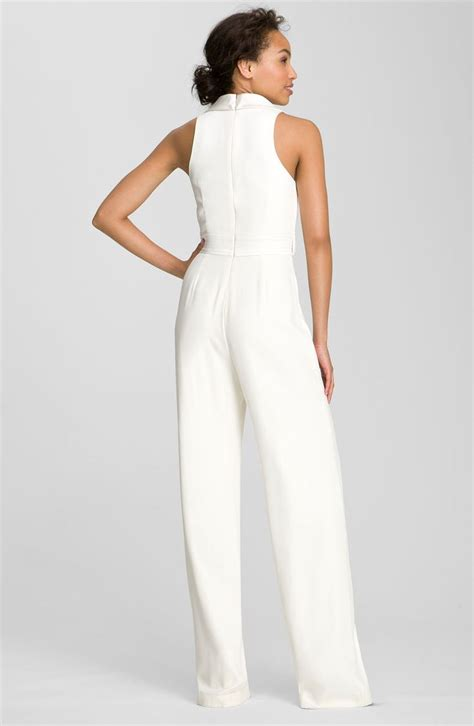 all white jumpsuit for dress theia tuxedo style silk jumpsuit
