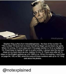 Explained Stephen King Suffers From Triskaidekaphobia The