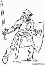 Template Coloring Spear Knights Printable Soldiers sketch template