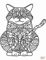 Coloring Cat Zentangle Dibujos Easy Colorear Sitting Printable Seniors Sheets Gatos Gatto Seduto Disegno Adult Gato Animals Dibujo Books Sentado sketch template